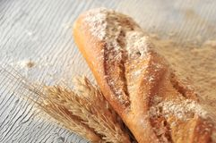 Baguette french bakery speciality and wheat ingredient Royalty Free Stock Photo