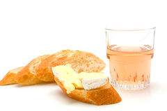 Baguette, french cheese and ros頷ine Stock Image