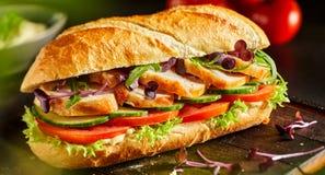 Baguette fresche deliziose del pollo con insalata immagini stock libere da diritti