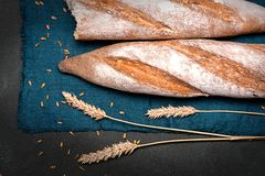 Baguette halves lie on a dark napkin on a black surface.  Nearby there are spikelets of wheat. Baguette halves lie on a blue napkin on a black surface.  Nearby royalty free stock photography
