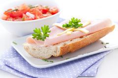 Baguette with ham Stock Photography