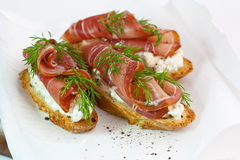Baguette with ham, cheese and dill Stock Image