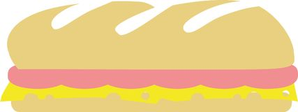 Baguette with ham and cheese sandwich. Vector Royalty Free Stock Photo
