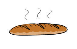 Baguette. A hand drawn vector illustration of a steamy Baguette bread Royalty Free Stock Image
