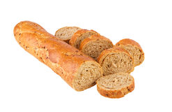 Baguette healthy food whole grain baguette half and pieces on white Stock Image