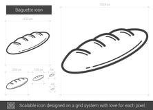 Baguette line icon. vector illustration