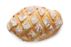 Baguette loaf with checkered crust. Baguette loaf at white background. Fresh long loaf with checkered crust top view stock photography