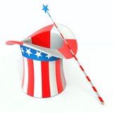 baguette magique de magie de chapeau Images stock