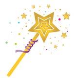 Baguette magique magique avec les étoiles colorées Image libre de droits