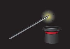 Baguette magique magique et magicien noir Hat Image libre de droits