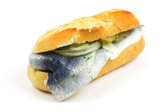 Baguette met vissen Stock Foto's