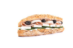 Baguette mixed with salami and vegetable Stock Photography