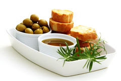 Baguette and olive oil Royalty Free Stock Photography