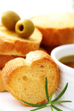 Baguette and olive oil Stock Photography
