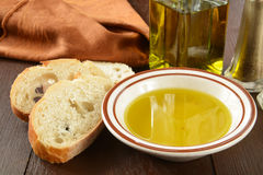 Baguette and olive oil Stock Photo