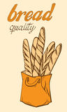 Baguette in paper bag. In graphic style Royalty Free Stock Photo