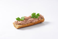 Baguette with pate Royalty Free Stock Images