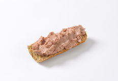 Baguette with pate. Fresh baguette with pate on white background Royalty Free Stock Photography