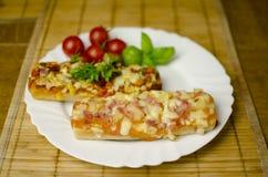 Baguette pizza Stock Photo