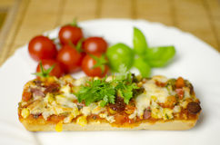 Baguette pizza close-up Royalty Free Stock Image