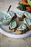 Baguette and ricotta Stock Images