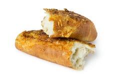 Baguette rotte con formaggio ed aglio Fotografia Stock Libera da Diritti