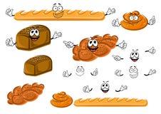 Baguette, rye bread, cinnamon roll and bun Royalty Free Stock Photos
