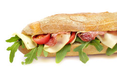 Baguette with salami and cheese Stock Photography