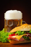 Baguette sandwich and beer Royalty Free Stock Image