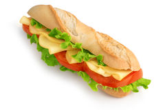 Baguette sandwich with cheese Royalty Free Stock Photo