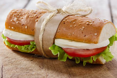 Baguette sandwich with mozzarella Royalty Free Stock Photography