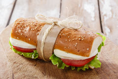 Baguette sandwich with mozzarella Royalty Free Stock Image