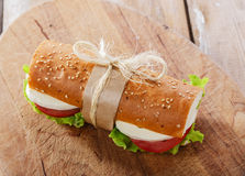 Baguette sandwich with mozzarella. And tomatoes Stock Photos