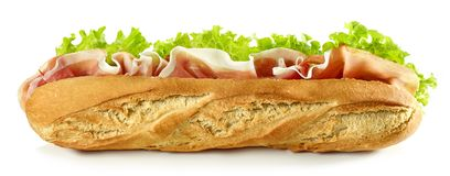 Baguette sandwich isolated on white background royalty free stock photos