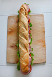 Baguette sandwich with salami, tomatoes and fresh salad Stock Image