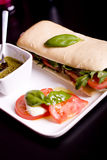 Baguette  sandwich with sliced ham Royalty Free Stock Photos