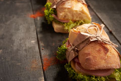Baguette Sandwiches on the table royalty free stock images