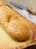 Baguette with sesame seeds Stock Image