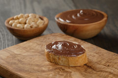 Baguette slice with chocolate hazelnut spread Royalty Free Stock Image