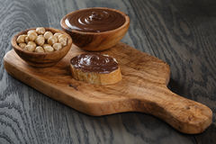Baguette slice with chocolate hazelnut spread Royalty Free Stock Photography