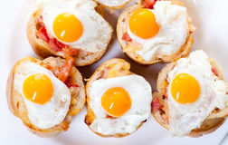 Baguette Slice with Ham and Fried Quail Egg Stock Images