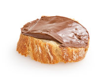 Baguette slice spread with nut-choco paste Royalty Free Stock Image