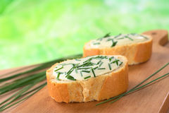 Baguette with Soft Cheese and Chives Stock Image