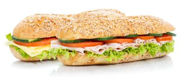 Baguette sub sandwiches with ham and cheese whole grains fresh i. Solated on a white background royalty free stock photo