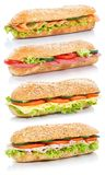 Baguette sub sandwiches with salami ham cheese salmon fish stack royalty free stock photography