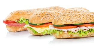 Baguette sub sandwiches salami ham cheese stock photography