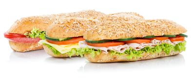 Baguette sub sandwiches with salami ham cheese whole grains fresh isolated on white stock photo