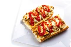Baguette tostado del queso y de la carne Imagen de archivo