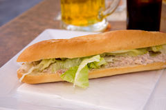 Baguette with tuna salad Stock Images
