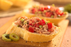 Baguette with Tuna and Tomato Royalty Free Stock Images